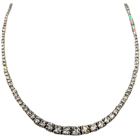 WHITE GOLD GRADUATED DIAMOND TENNIS NECKLACE