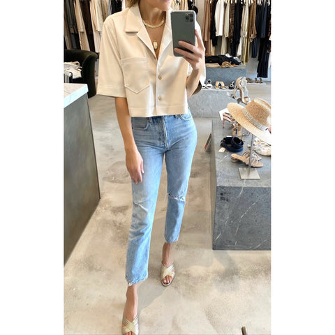 NANUSHKA RHETT VEGAN LEATHER SHIRT IN OFF WHITE - SWITCH BOUTIQUE