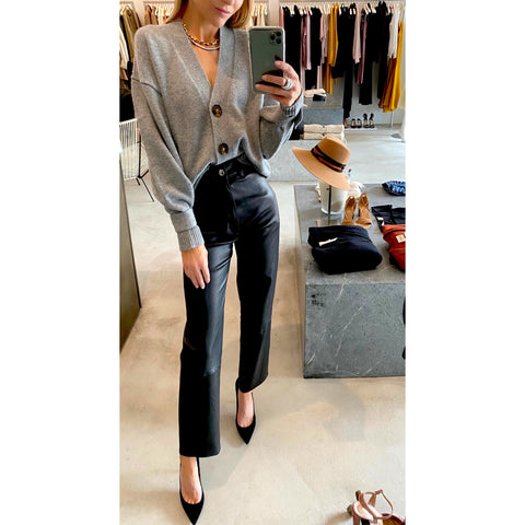 SPRWMN 5 POCKET STRAIGHT LEG LEATHER PANT