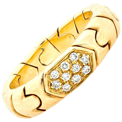 VINTAGE BVLGARI PARENTESI 18K YELLOW GOLD DIAMOND BAND