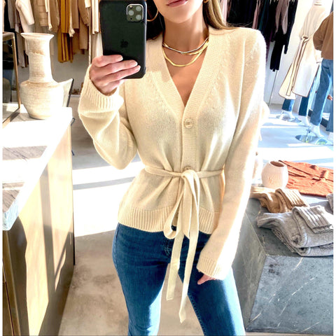 BROCK COLLECTION BELTED CASHMERE CARDIGAN IN NEUTRAL - SWITCH BOUTIQUE