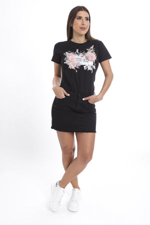 Flower Love You T-Shirt Black