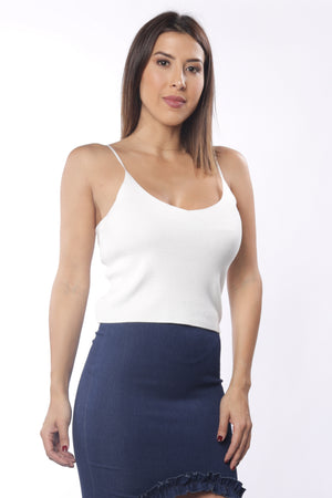 Sleeveless Cashmere Crop Top