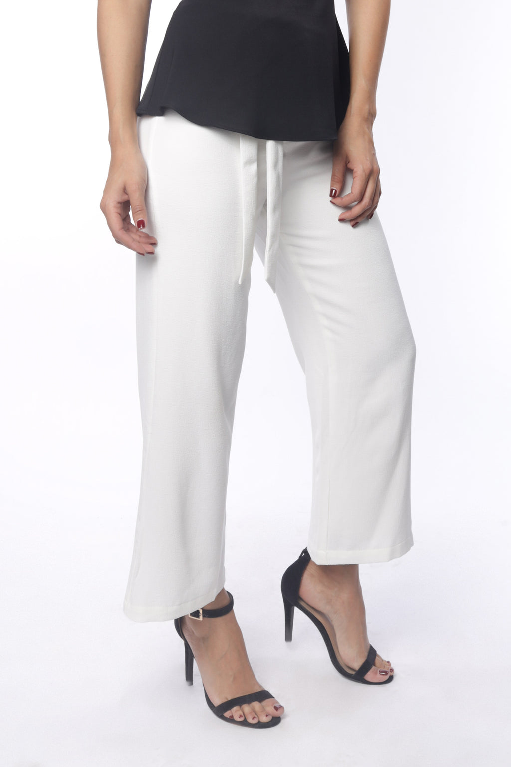 White Cropped & Belted Wide Leg Pants