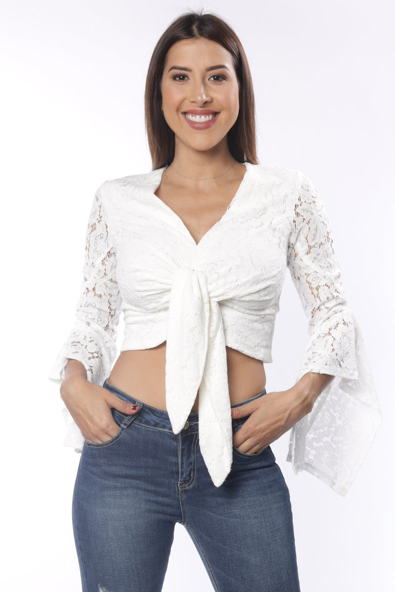 White Lace Tie Front Top