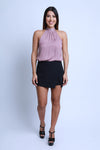 Skort with Front Surplice Black