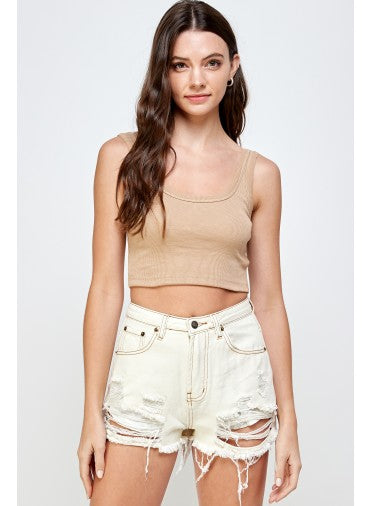 Roberta Ribbed Taupe Crop Top