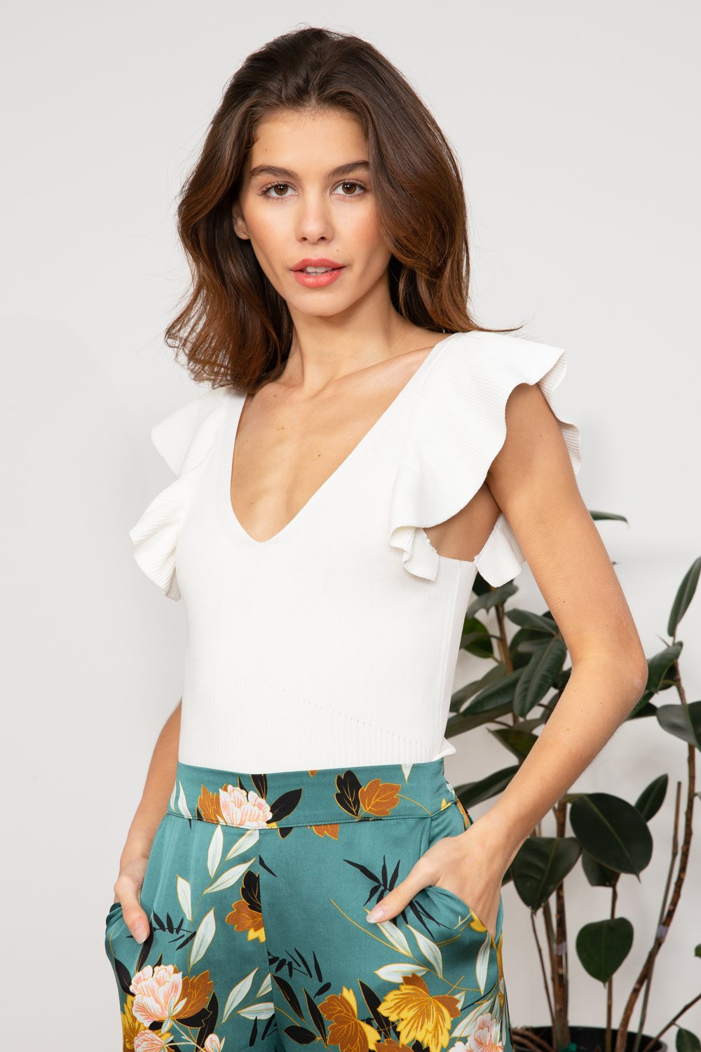 Sofia White knit Top with Ruffle Sleeves