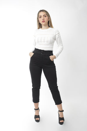 High Waisted Paper bag Black Jean