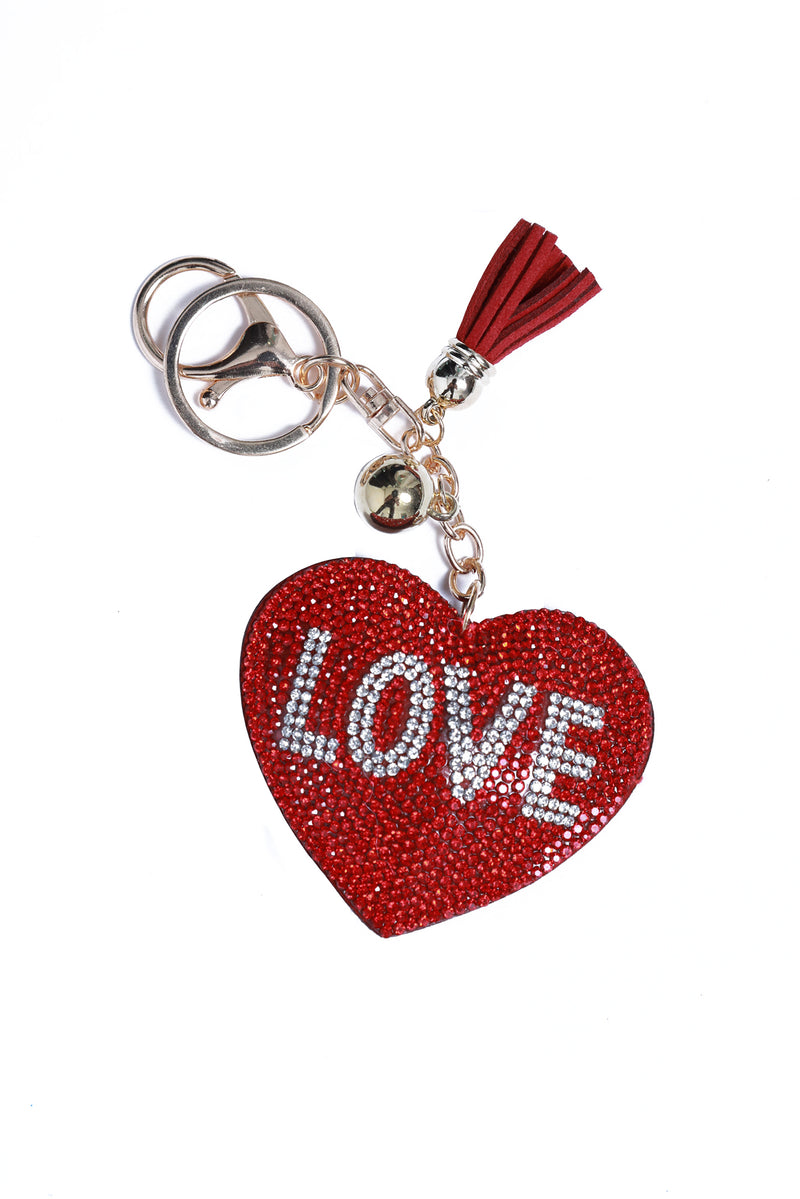 Rhinestone Key Chain Red Heart Love