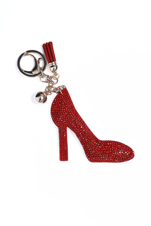 Rhinestone Key Chain Red Heel