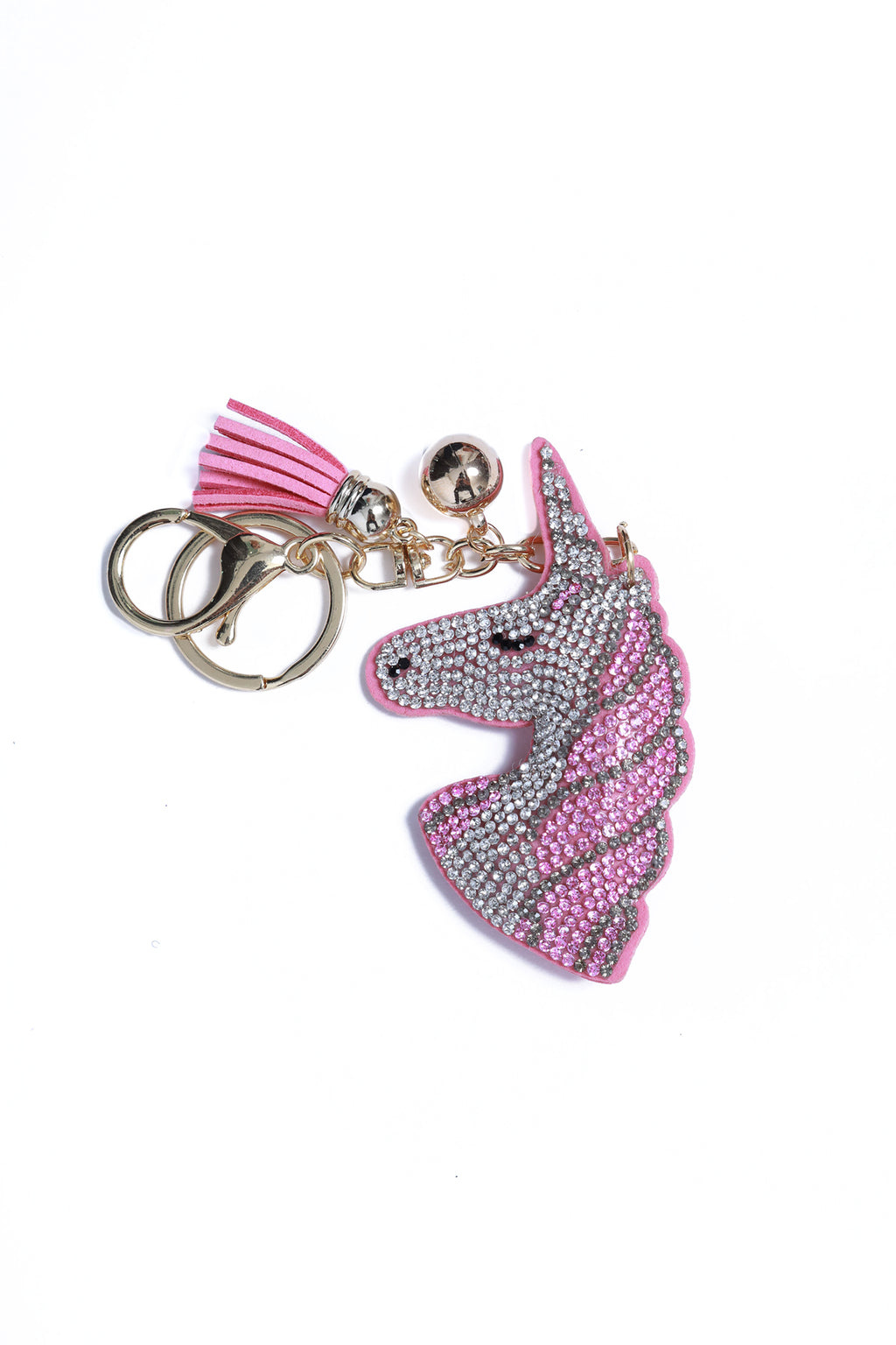 Rhinestone Key Chain Unicorn Head