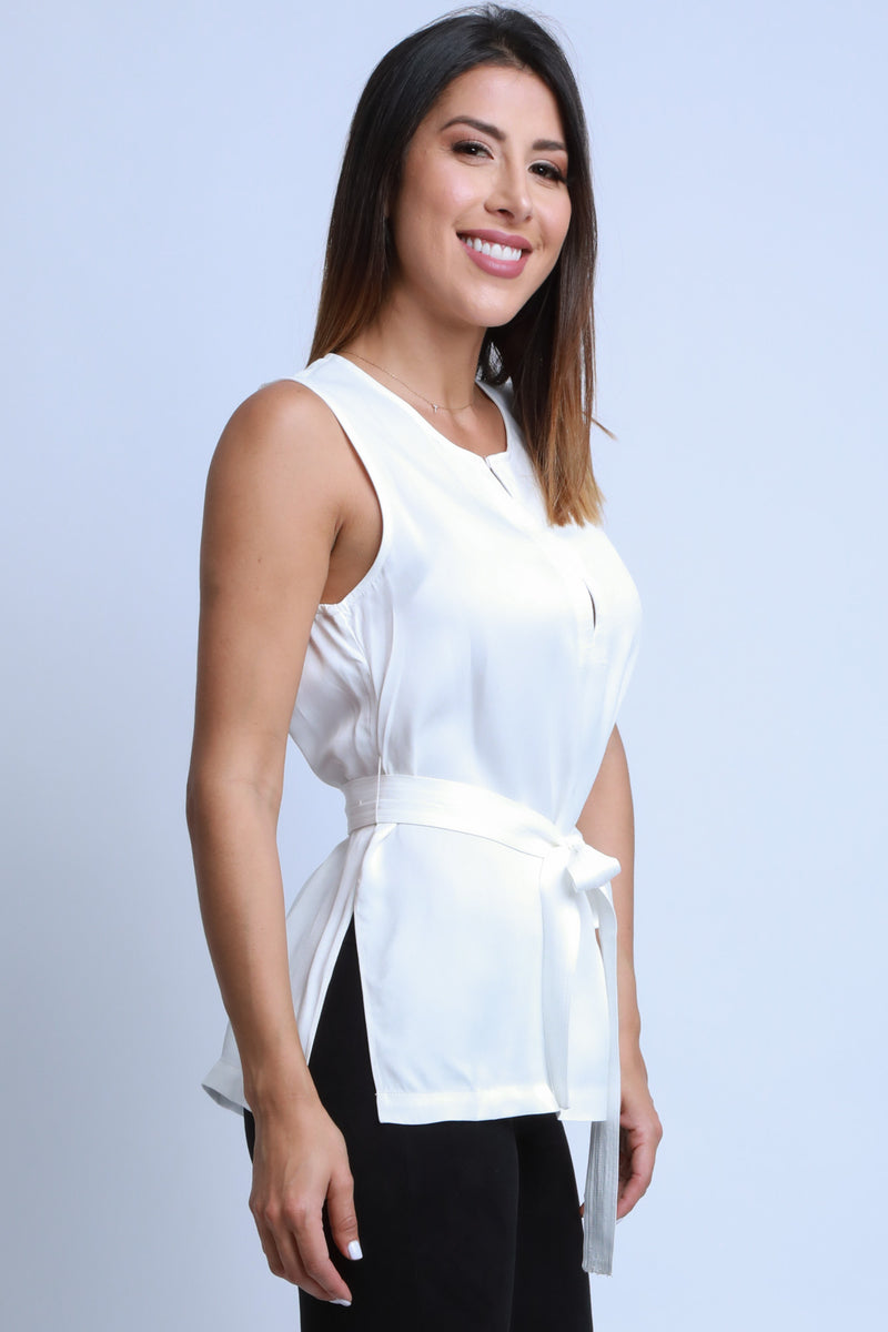 White Blouse with Ribbon