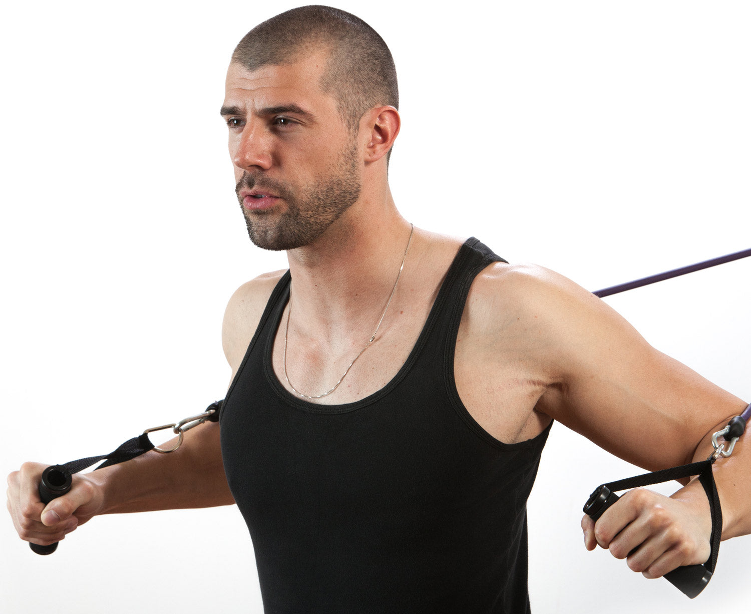 Man using ProsourceFit resistance tube for arm workout