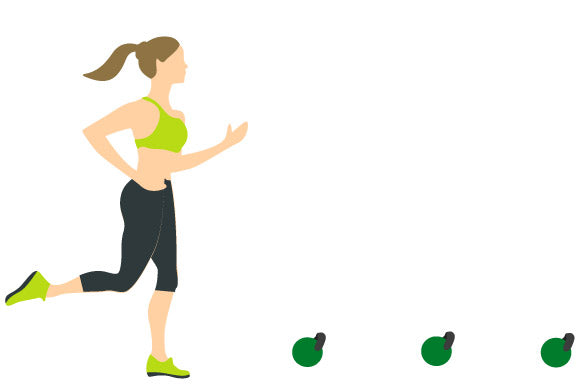 illustration running drill with prosourcefit kettlebell
