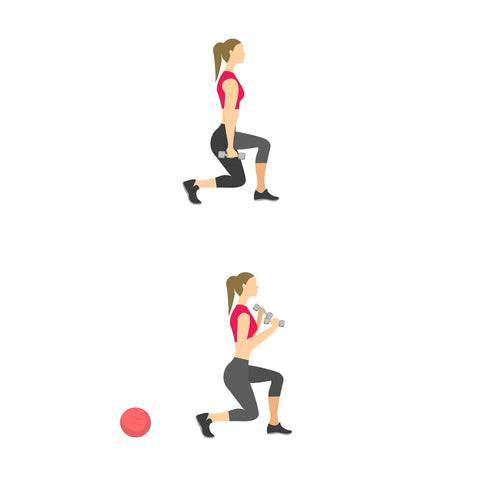 Reverse lunge with bicep curl exercise