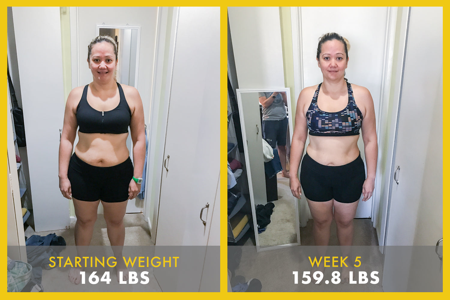 Weight loss challenger's progress pic after 5 week program