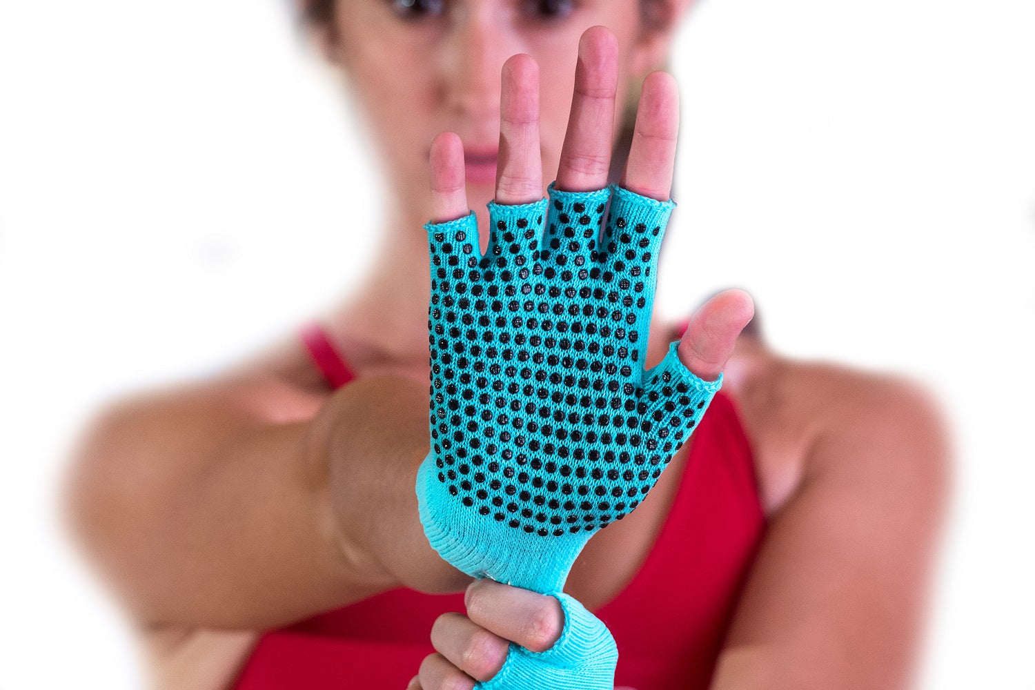 woman wearing prosourcefit grippy yoga gloves with rubber dots