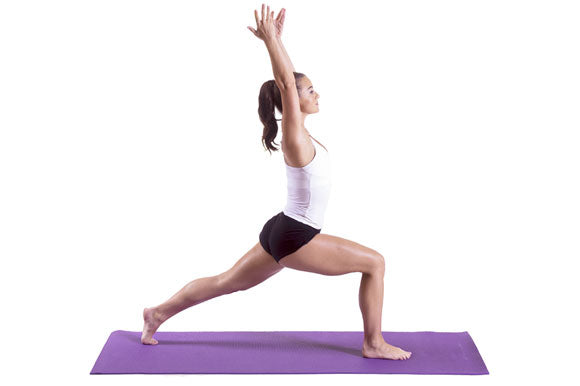 woman doing high lunge on prosourcefit classic yoga mat