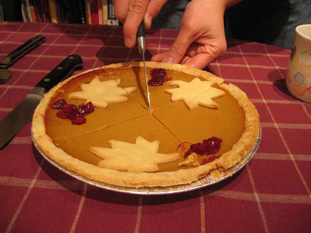 Pumpkin Pie with christmas decor