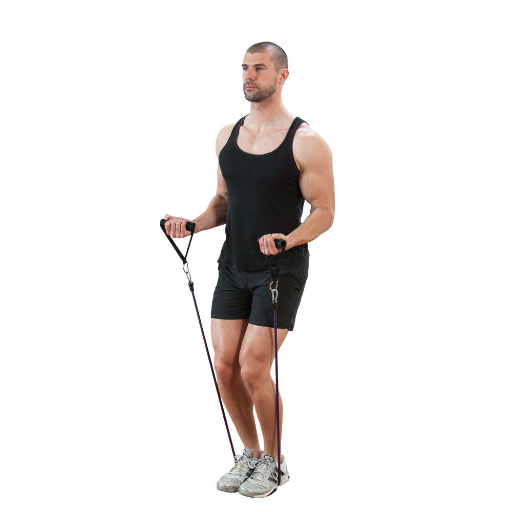 ProSource - 9 Reasons to Use Resistance Bands - Bicep curl with stackable resistance band