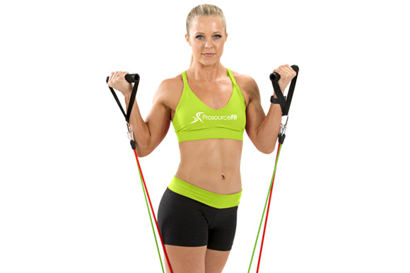 woman using prosourcefit stackable resistance bands for bicep curls
