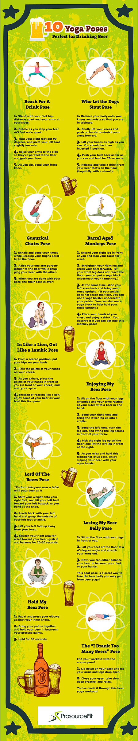beer yoga poses