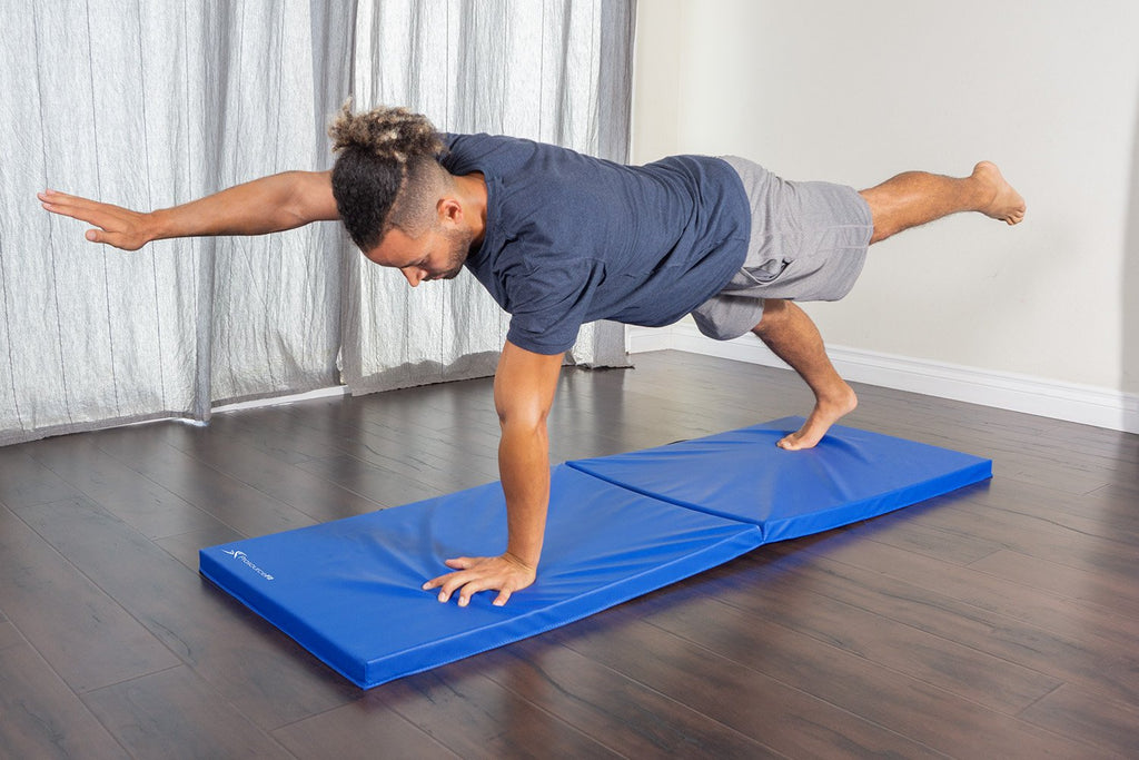 Bi-Fold Folding Exercise Mat Blue