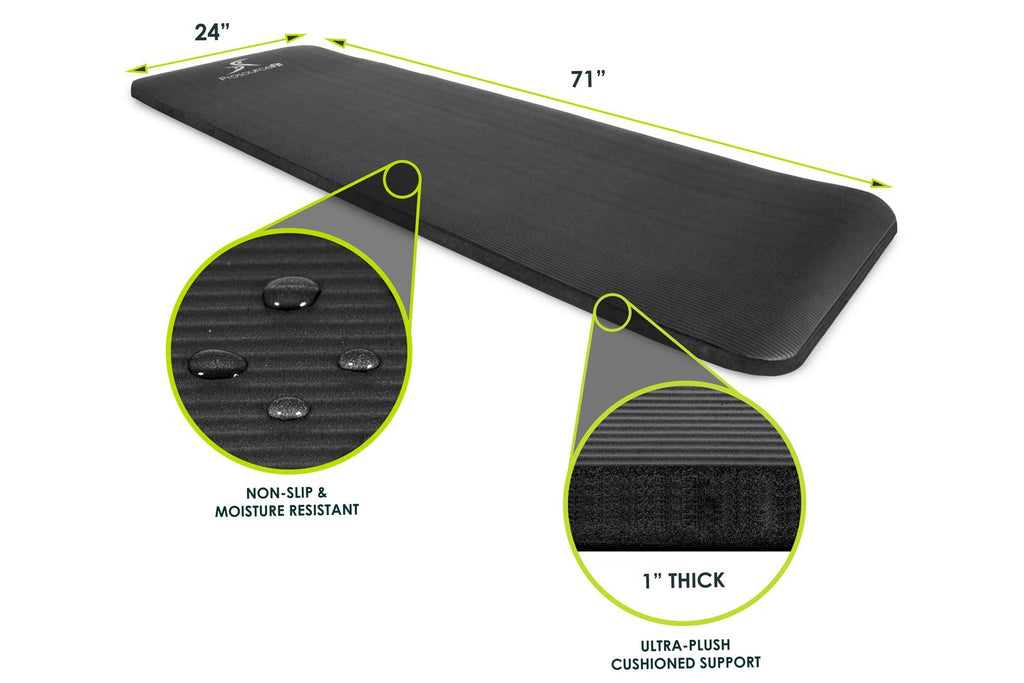 Extra Thick Yoga and Pilates Mat 1 inch Black