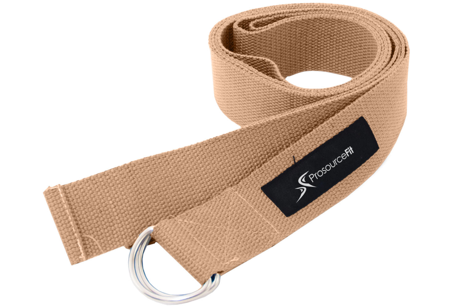Beige Metal D-Ring Yoga Strap