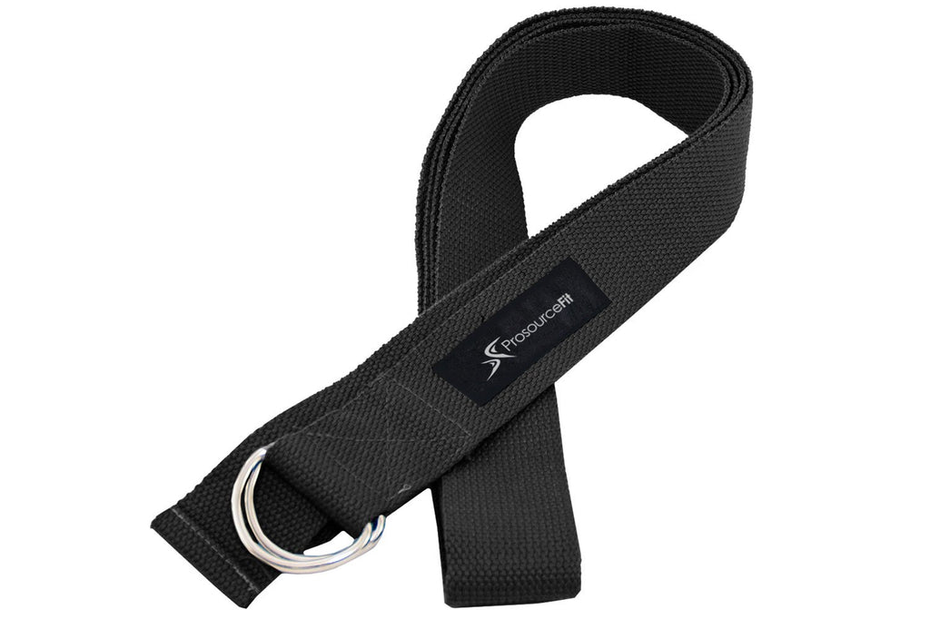 Metal D-Ring Yoga Strap Black