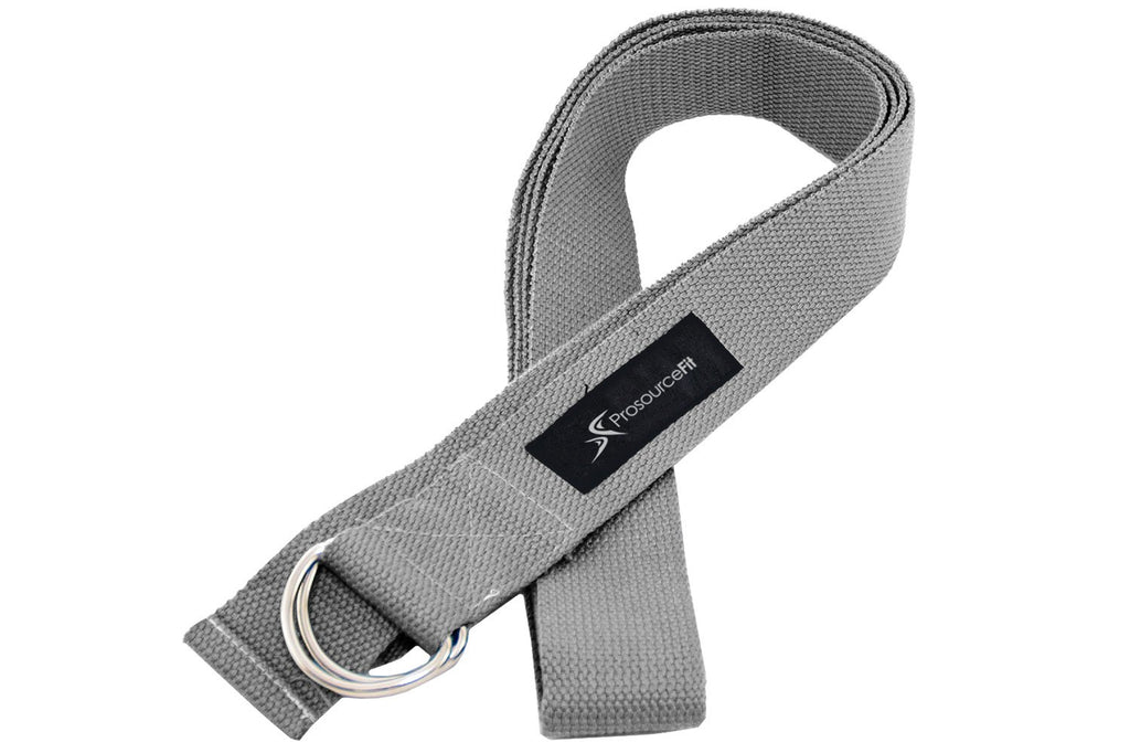 Metal D-Ring Yoga Strap Grey