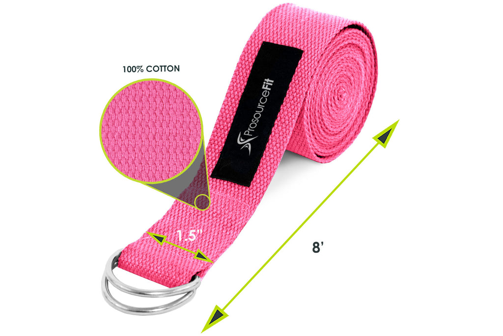 Metal D-Ring Yoga Strap Pink