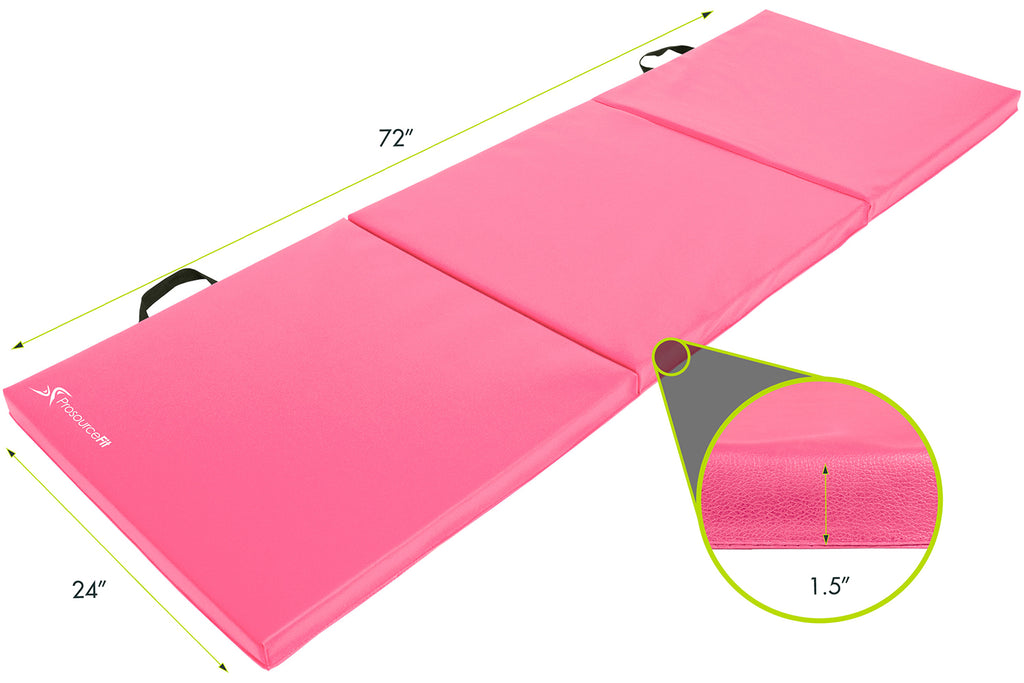 Tri-Fold Folding Exercise Mat 6x2x1.5 Pink