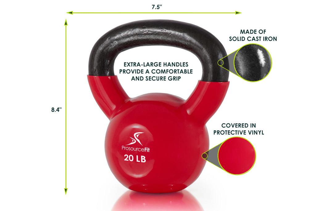 Vinyl Coated Cast Iron Kettlebells 20 lb