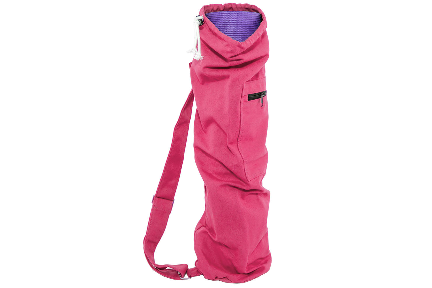 Pink Yoga Mat Bag with Side Pocket