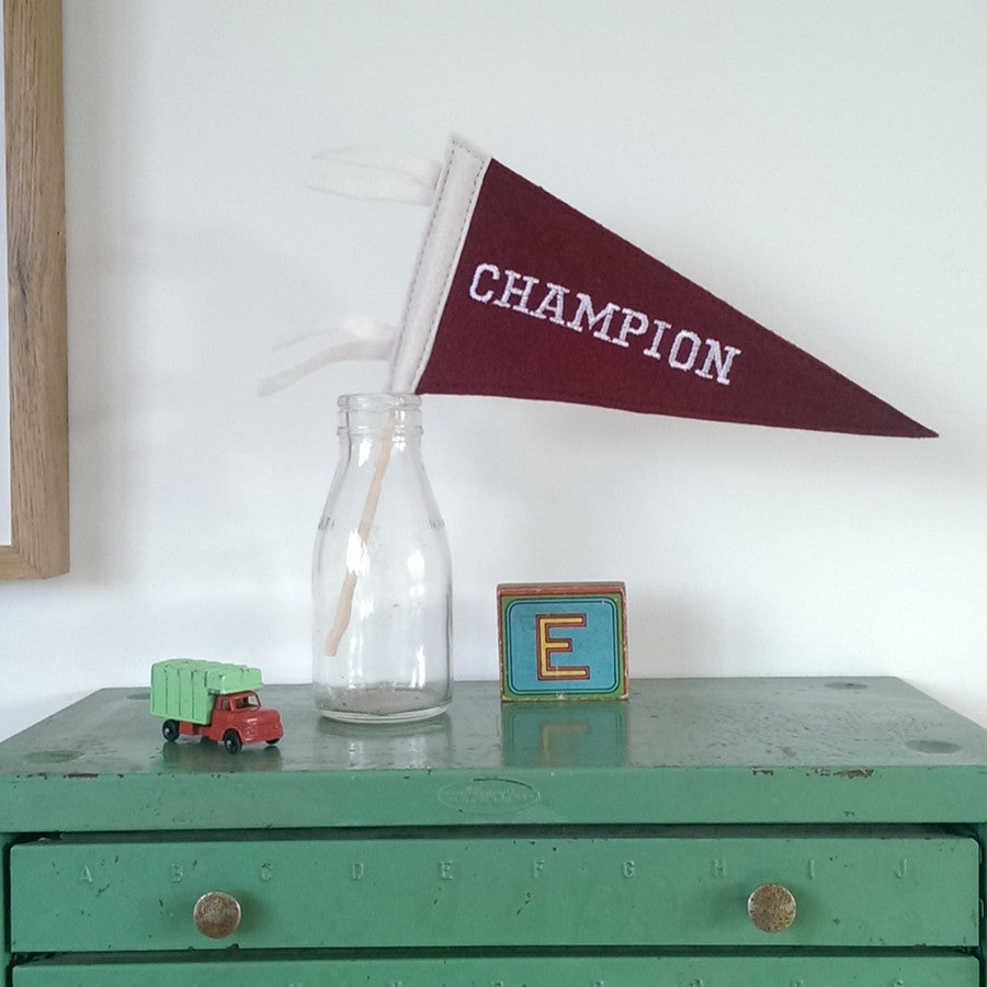 Mini Felt Pennant Flag - Champion