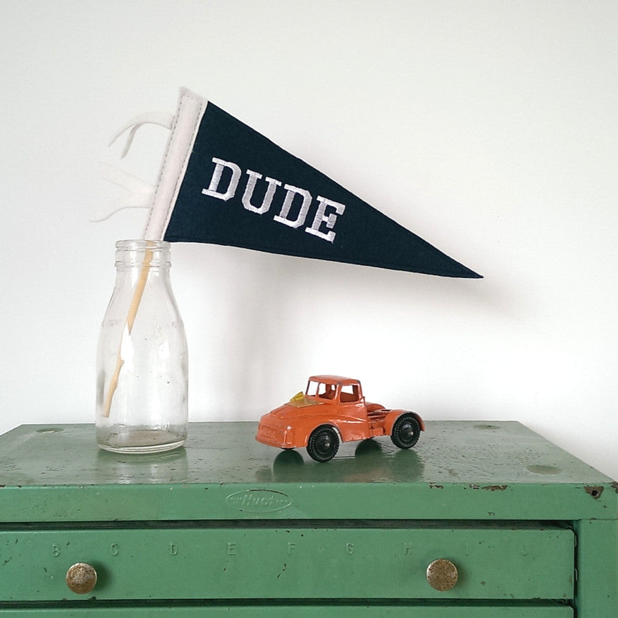 Mini Felt Pennant Flag - Dude