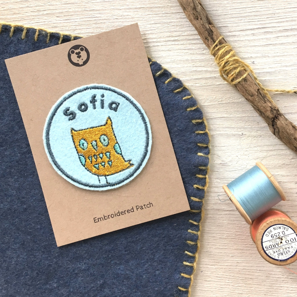 Personalised Embroidered Patch - Owl