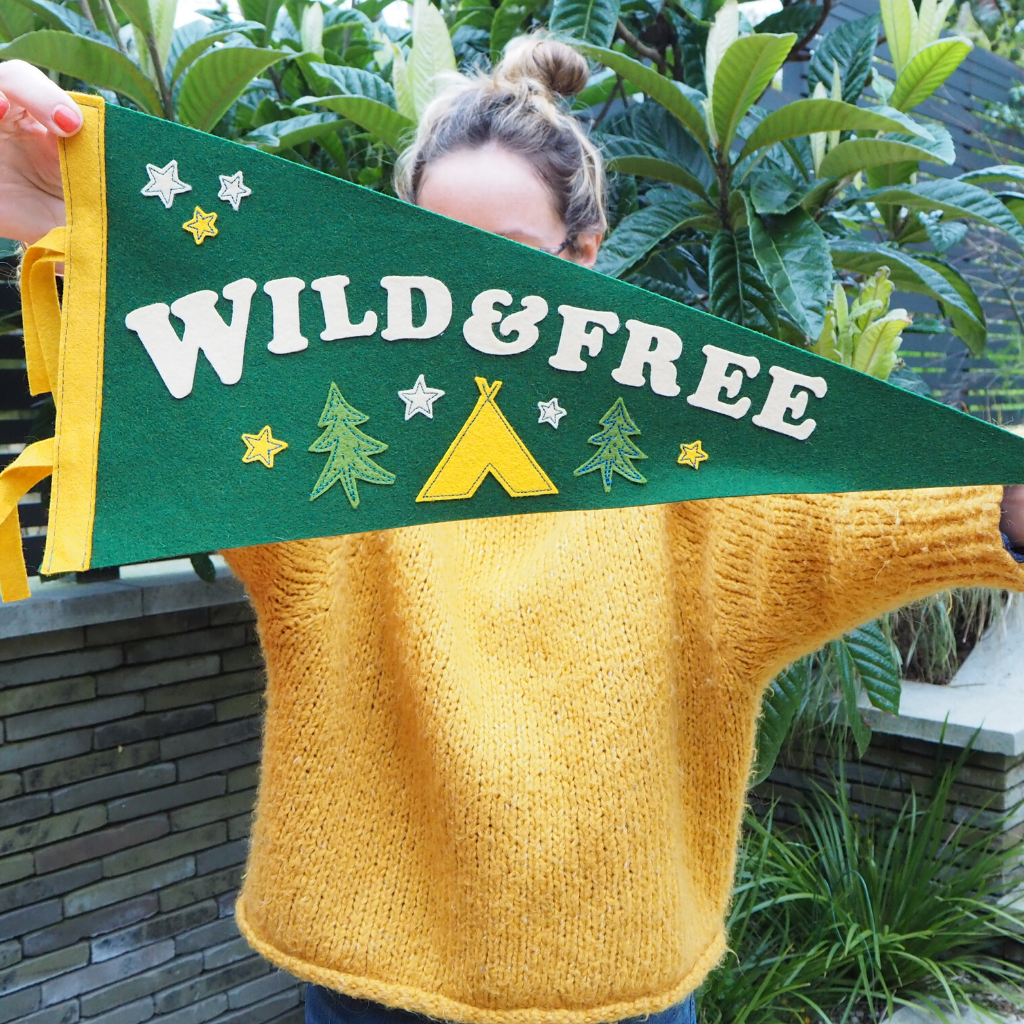 Wild and Free Pennant Flag