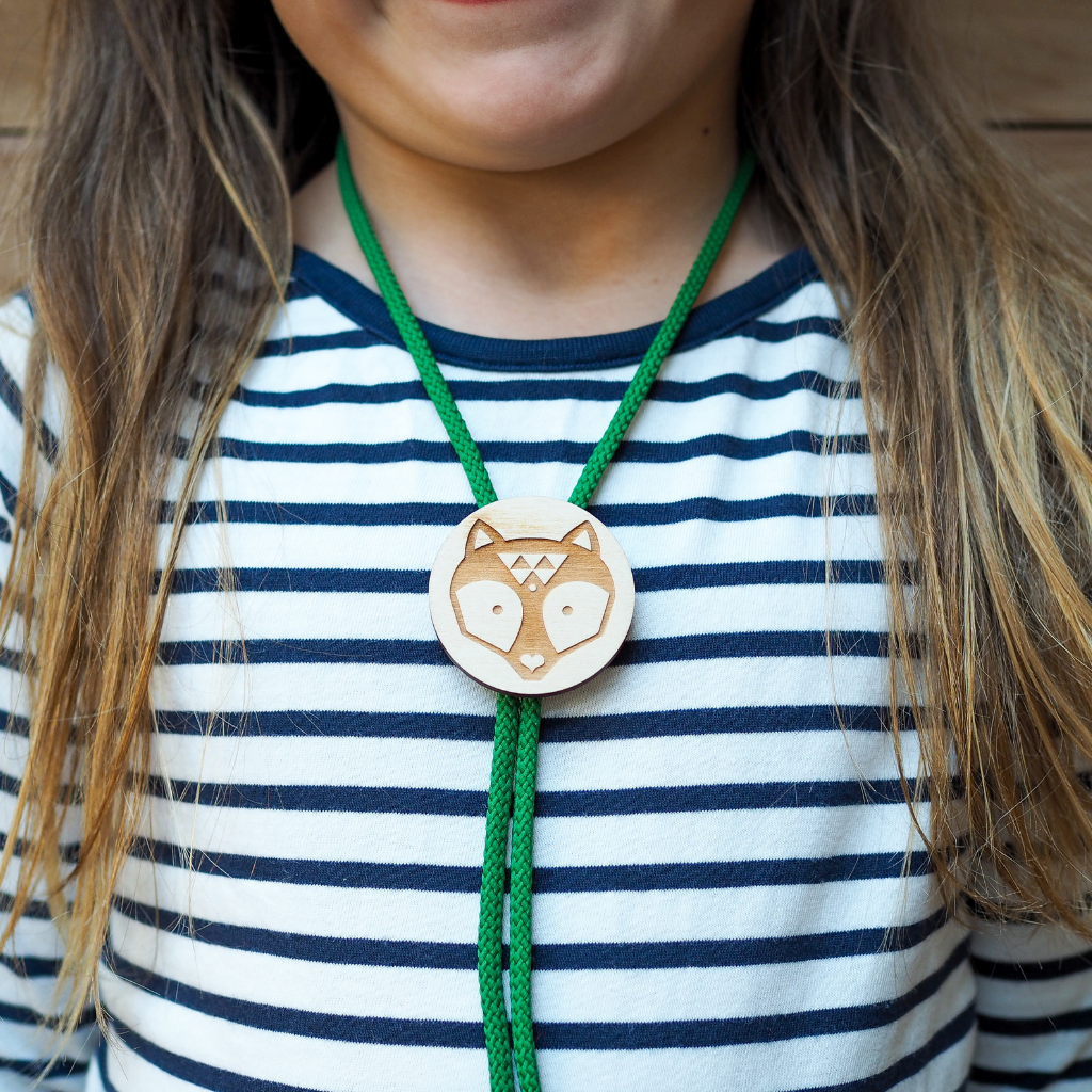 Wooden Raccoon Slider necklace