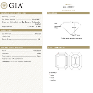 1.00ct 7.57x5.79x2.26mm GIA VS1 E Cut Corner Rectangle Step Cut 18333-01 - Yuliya Chorna Jewellery