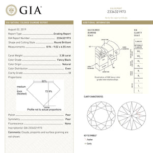 3.38ct 9.02x8.94x6.55mm GIA Fancy Black Round Brilliant Cut 18847-01 - Yuliya Chorna Jewellery