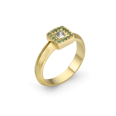 Raw Diamond Yellow Gold Stacker