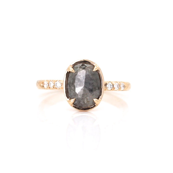 Oval black rose cut diamond ring in yellow gold