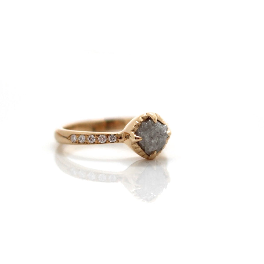 Raw Diamond Yellow Gold Solitaire - Yuliya Chorna Jewellery