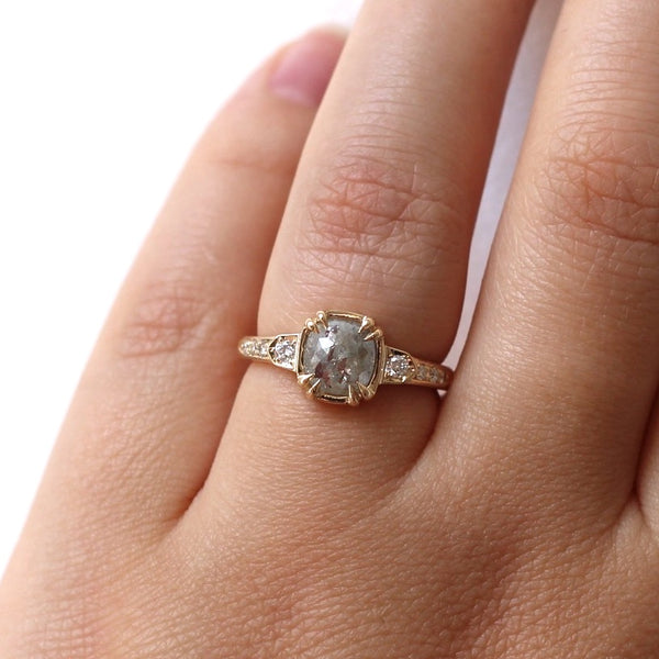 Cushion rose cut diamond claw engagement ring