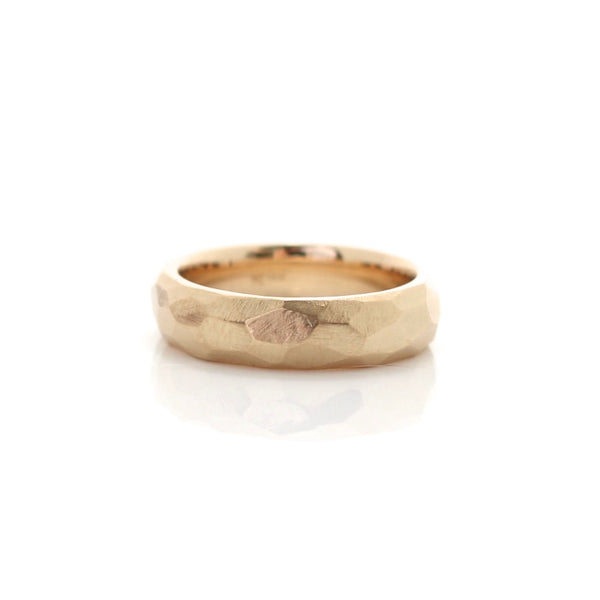 Faceted Wide Band in Yellow Gold - Ready To Ship - Yuliya Chorna Jewellery