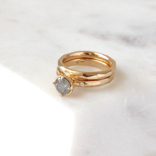 faceted thin band in 14k yellow gold