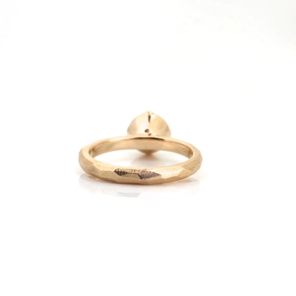 Facetted Salt & Pepper Diamond Solitaire in 14k yellow gold